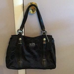 COACH BLACK CANVAS BAG BLACK LEATHER TRIM & WALLET